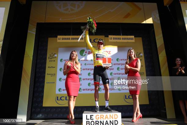 Podium / Greg Van Avermaet of Belgium and BMC Racing Team Yellow Leader Jersey Most combative rider / Celebration / during the 105th Tour de France...
