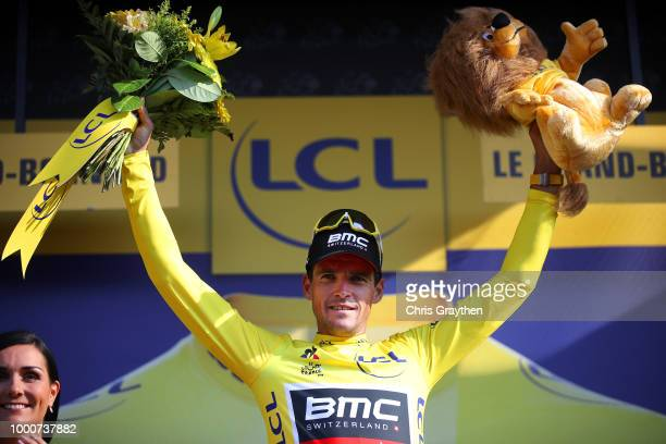 Podium / Greg Van Avermaet of Belgium and BMC Racing Team Yellow Leader Jersey during the 105th Tour de France 2018 / Stage 10 a 1585km stage from...