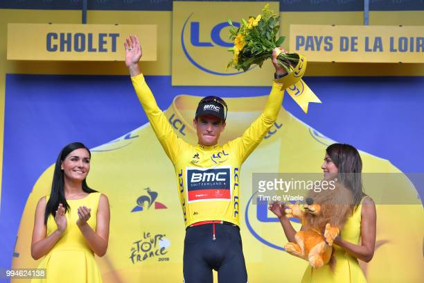 Podium / Greg Van Avermaet of Belgium and BMC Racing Team Yellow Leader Jersey Celebration / during the 105th Tour de France 2018 Stage 3 a 355km...