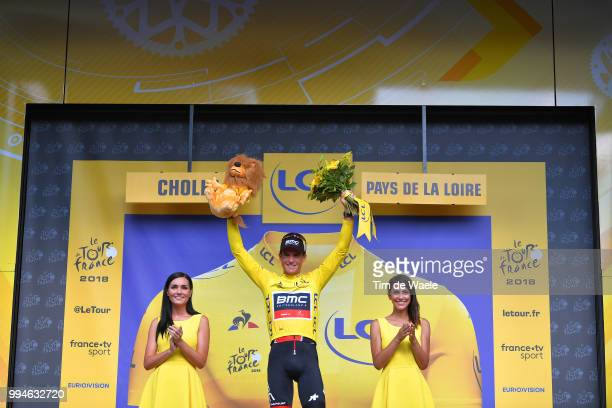 Podium / Greg Van Avermaet of Belgium and BMC Racing Team Yellow Leader Jersey Celebration / during the 105th Tour de France 2018, Stage 3 a 35,5km...