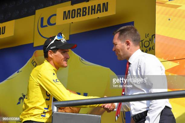 Podium / Greg Van Avermaet of Belgium and BMC Racing Team Yellow Leader Jersey / David Lappartient of France - UCI President Celebration / during the...