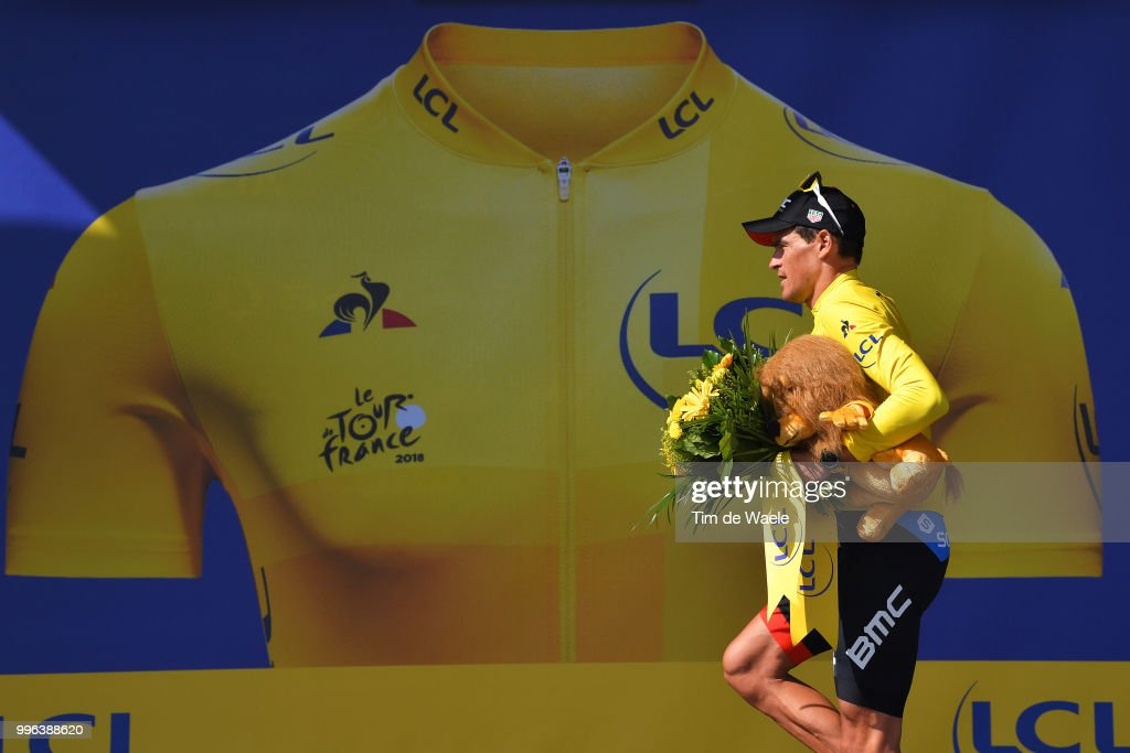 Podium / Greg Van Avermaet of Belgium and BMC Racing Team Yellow Leader Jersey / Celebration / during the 105th Tour de France 2018, Stage 5 a 204,5km stage from Lorient to Quimper / TDF / on July 11, 2018 in Quimper, France.