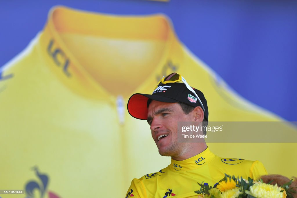 Podium / Greg Van Avermaet of Belgium and BMC Racing Team Yellow Leader Jersey / Celebration / during 105th Tour de France 2018, Stage 6 a 181km stage from Brest to Mur-de-Bretagne Guerledan 293m / TDF / on July 12, 2018 in Mur-de-Bretagne Guerledan, France.