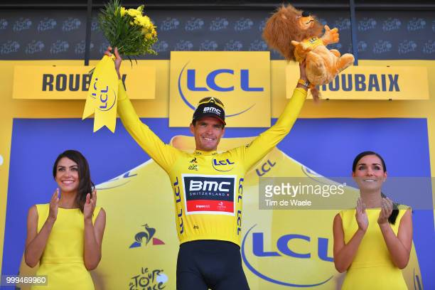 Podium / Greg Van Avermaet of Belgium and BMC Racing Team Yellow Leader Jersey / Celebration / during the 105th Tour de France 2018, Stage 9 a 156,5...