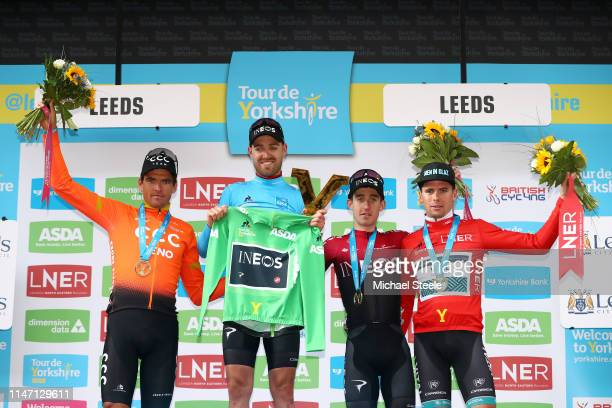 Podium / Greg Van Avermaet of Belgium and CCC Team Silver medal / Christopher Lawless of United Kingdom and Team INEOS Blue Leader Jersey and Green...