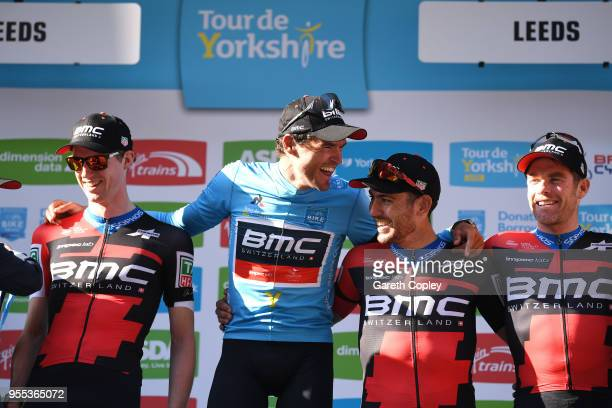 Podium / Greg Van Avermaet of Belgium Blue Leader Jersey / Patrick Bevin of New Zealand / Tom Bohli of Switzerland / Brent Bookwalter of The United...