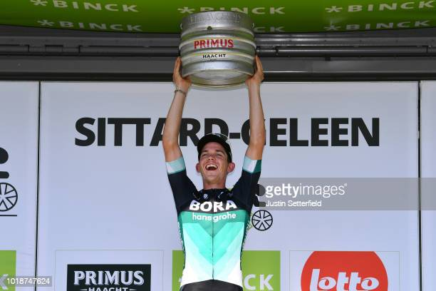 Podium / Gregor Muhlberger of Austria and Team Bora-Hansgrohe / Celebration / Beer / during the 14th BinckBank Tour 2018, Stage 6 a 182,2km stage...