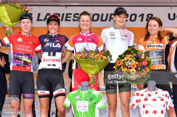Podium / Hannah Barnes of Great Britain and Team Canyon-Sram Racing Red Most Combative Rider / Lucinda Brand of Netherlands and Team Sunweb Blue...