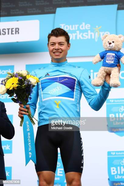 Podium / Harry Tanfield of Great Britain and Team Canyon Eisberg / Blue Overall Leader Jersey / Celebration / Flowers / during the 4th Tour of...