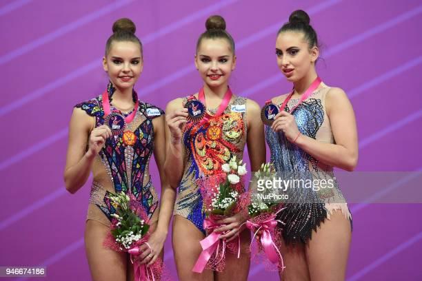 1Arina Averina 2 Dina Averina 3 Katrin Taseva during the FIG 2018 Rhythmic Gymnastics World Cup at Adriatic Arena on 15 April 2018 in Pesaro Italy