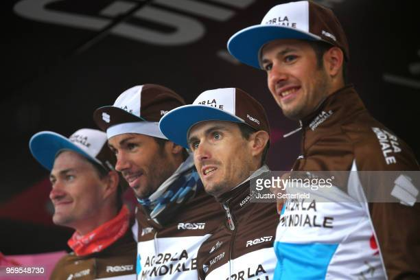 Podium / Hubert Dupont of France / Nico Denz of Germany / Mickael Cherel of France / Alexandre Geniez of France / Team AG2R La Mondiale / Super Team...