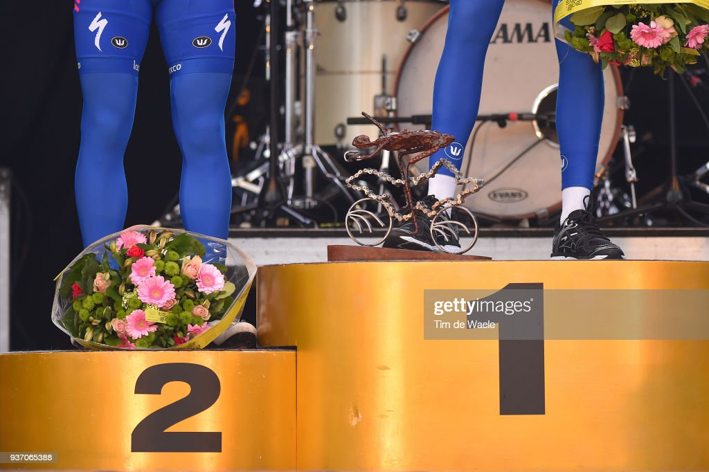 Podium / Illustration / Philippe Gilbert of Belgium and Team Quick-Step Floors / Niki Terpstra of The Netherlands and Team Quick-Step Floors / Celebration / Legs / during the 61st E3 Harelbeke 2018 a 206,4km race from Harelbeke to Harelbeke on March 23, 2018 in Harelbeke, Belgium.