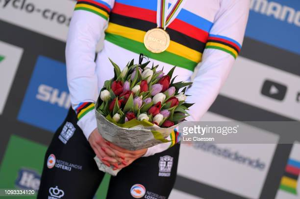Podium / Inge Van Der Heijden of The Netherlands and Team The Netherlands Gold Medal World Champion Jersey / Celebration / Tulips / Detail view /...