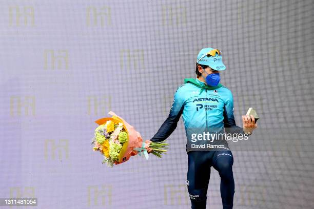 Podium / Ion Izagirre Insausti of Spain and Team Astana Premier Tech Celebration, during the 60th Itzulia-Vuelta Ciclista Pais Vasco 2021, Stage 4 a...