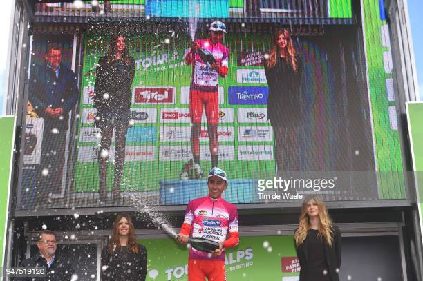 Podium / Ivan Ramiro Sosa of Colombia and Team Androni Sidermec Bottecchia Purple Leader Jersey Celebration / during the 42nd Tour of the Alps 2018,...