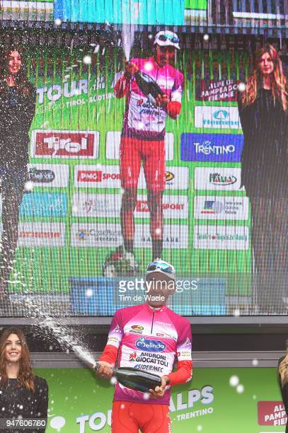 Podium / Ivan Ramiro Sosa of Colombia and Team Androni Sidermec Bottecchia Purple leaders jersey / Celebration / during the 42nd Tour of the Alps...