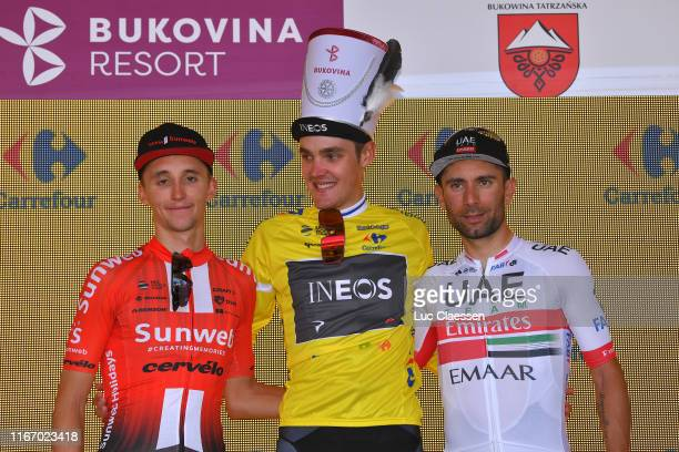 Podium / Jai Hindley of Australia and Team Sunweb / Pavel Sivakov of Russia and Team INEOS Yellow Leader Jersey / Diego Ulissi of Italy and UAE -...