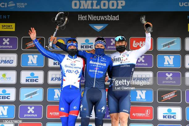 Podium / Jake Stewart of United Kingdom and Team Groupama - FDJ, Davide Ballerini of Italy and Team Deceuninck - Quick-Step & Sep Vanmarcke of...
