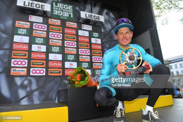 Podium / Jakob Fuglsang of Denmark and Astana Pro Team / Celebration / Trophy / during the 105th Liege Bastogne Liege 2019 a 256km race from Liege to...