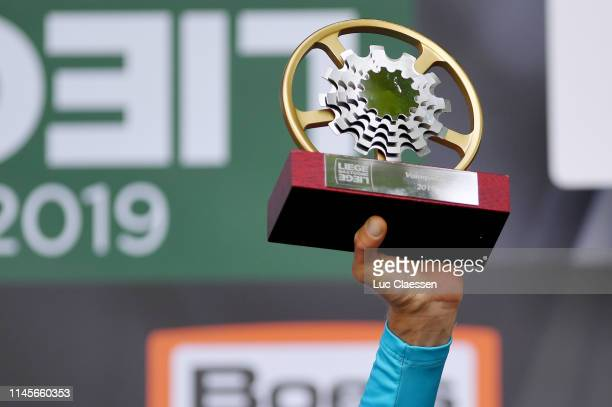 Podium / Jakob Fuglsang of Denmark and Astana Pro Team / Celebration / Trophy / Detail view / during the 105th Liege - Bastogne - Liege 2019 a 256km...
