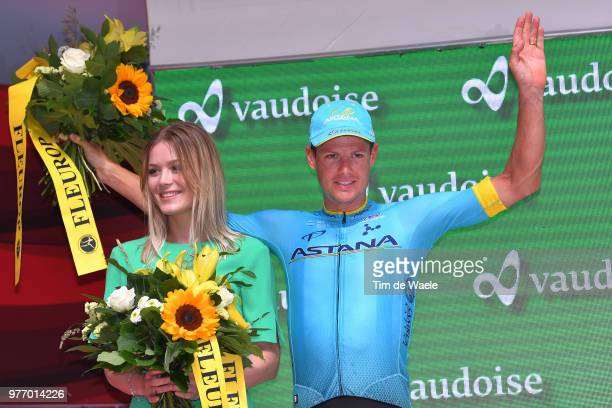 Podium / Jakob Fuglsang of Denmark and Astana Pro Team / during the 82nd Tour of Switzerland 2018 Stage 9 a 341km individual time trial stage from...
