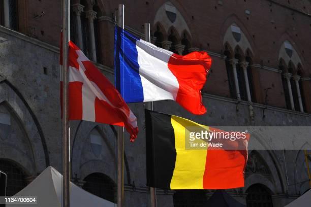 Podium / Jakob Fuglsang of Denmark and Astana Pro Team / Julian Alaphilippe of France and Team Deceuninck - Quick-Step / Wout Van Aert of Belgium and...