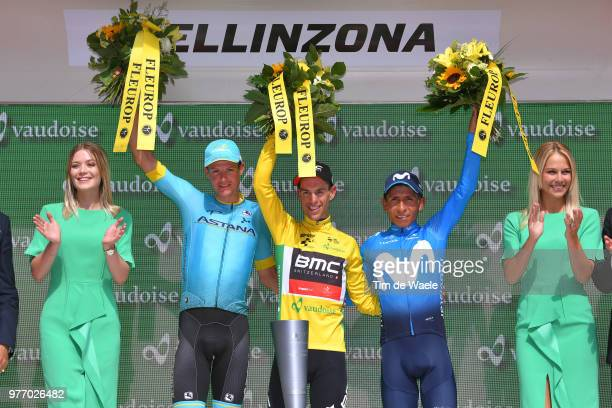 Podium / Jakob Fuglsang of Denmark and Astana Pro Team / Richie Porte of Australia and BMC Racing Team Yellow Leader Jersey / Nairo Quintana of...