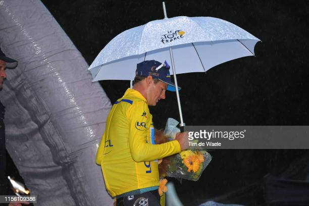 Podium / Jakob Fuglsang of Denmark and Astana Pro Team Yellow Leader Jersey / Celebration / Lion mascot / Rain / Umbrella / during the 71st Criterium...