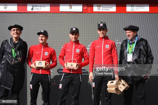 Podium / Jan Polanc of Slovenia and UAE Team Emirates / Diego Ulissi of Italy and UAE Team Emirates / Rui Alberto Faria da Costa of Portugal and UAE...