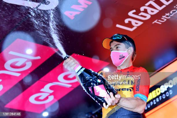 Podium / Jan Tratnik of Slovenia and Team Bahrain - Mclaren / Celebration / Champagne / during the 103rd Giro d'Italia 2020, Stage 16 a 229km stage...