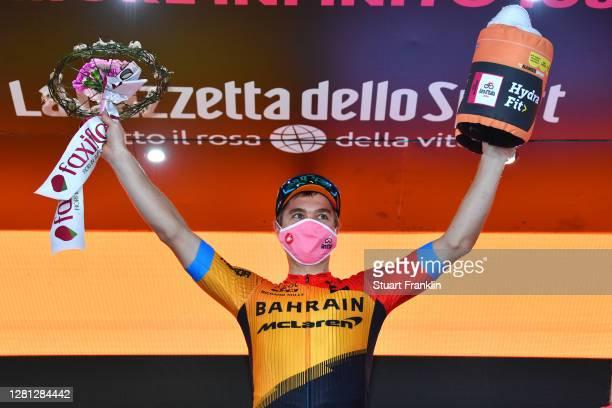 Podium / Jan Tratnik of Slovenia and Team Bahrain - Mclaren / Celebration / Flowers / during the 103rd Giro d'Italia 2020, Stage 16 a 229km stage...