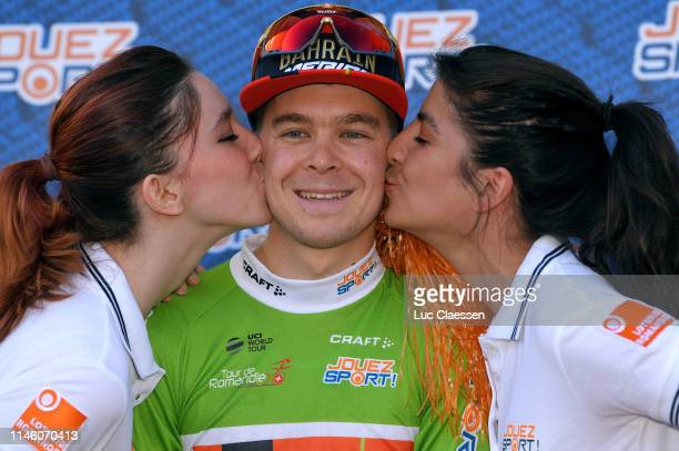 Podium / Jan Tratnik of Slovenia and Team Bahrain-Merida Green Sprint Jersey / Celebration / Miss / Hostess / Kiss / during the 73rd Tour de Romandie...