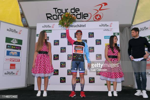 Podium / Jan Tratnik of Slovenia and Team BahrainMerida Polka Dot Mountain Jersey / Celebration / Miss / Hostess / Flowers / during the 73rd Tour de...