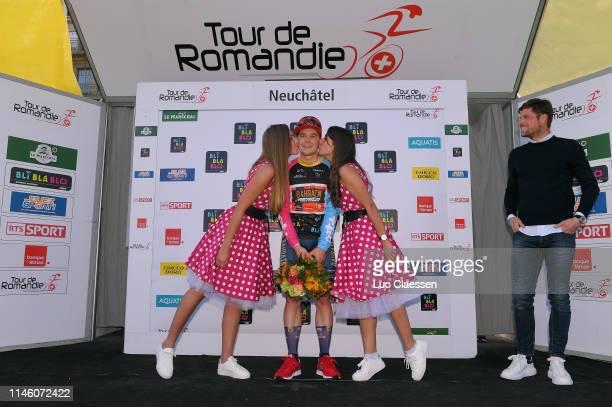 Podium / Jan Tratnik of Slovenia and Team BahrainMerida Polka Dot Mountain Jersey / Celebration / Miss / Hostess / Kiss / Flowers / during the 73rd...