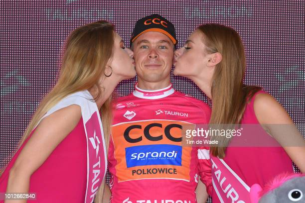 Podium / Jan Tratnik of Slovenia and Team Ccc Sprandi Polkowice Pink Mountain Jersey / Celebration / during the 75th Tour of Poland 2018 Stage 4 a...