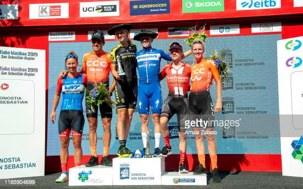 Podium / Janneke Ensing of The Netherlands and Team WNT-Rotor Pro Cycling / Greg Van Avermaet of Belgium and CCC Team / Lucy Kennedy of Australia and...