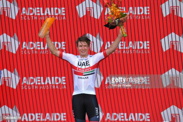 Podium / Jasper Philipsen of Belgium and UAE Team Emirates / Celebration / during the 21st Santos Tour Down Under 2019, Stage 5 a 149,5km stage from...