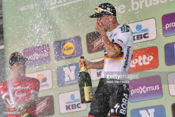 Podium / Jasper Stuyven of Belgium and Team Trek- Segafredo / Pascal Ackermann of Germany and Team BORA - Hansgrohe / Celebration / Champagne /...