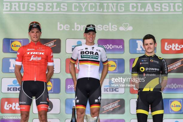 Podium / Jasper Stuyven of Belgium and Team Trek- Segafredo / Pascal Ackermann of Germany and Team BORA - Hansgrohe / Thomas Boudat of France and...