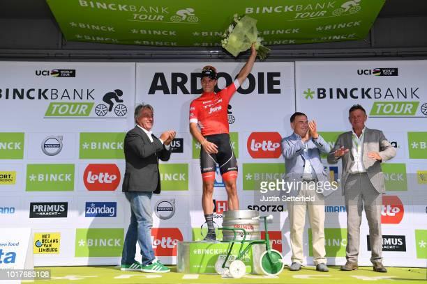 Podium / Jasper Stuyven of Belgium and Team Trek-Segafredo Celebration / during the 14th BinckBank Tour 2018, Stage 4 a 166,3km from Blankenberge to...