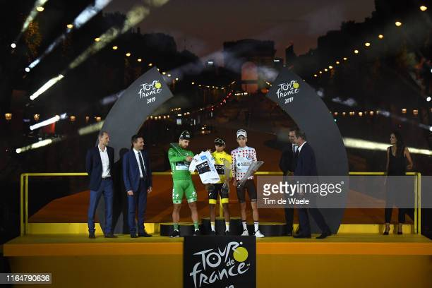 Podium / JeanEtienne Amaury of France ASO / President David Lappartient of France UCI President / Peter Sagan of Slovakia and Team BoraHansgrohe...