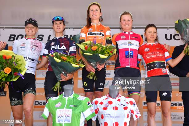 Podium / Jeanne Korevaar of Netherlands and Team Waowdeals Pro Cycling White Best Young Jersey / Elena Cecchini of Italy and Team Canyon-Sram Racing...