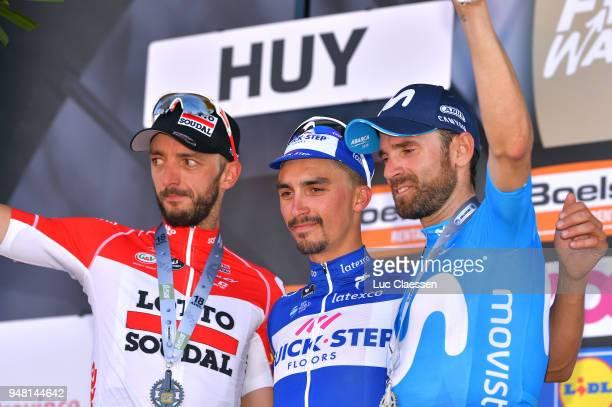 Podium / Jelle Vanendert of Belgium and Team Lotto Soudal / Julian Alaphilippe of France and Team Quick-Step Floors / Celebration / Alejandro...