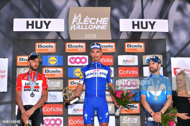 Podium / Jelle Vanendert of Belgium and Team Lotto Soudal / Julian Alaphilippe of France and Team QuickStep Floors / Celebration / Alejandro Valverde...
