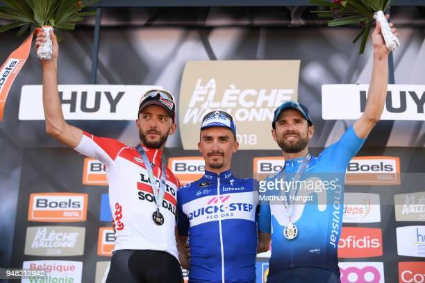 Podium / Jelle Vanendert of Belgium and Team Lotto Soudal / Julian Alaphilippe of France and Team Quick-Step Floors / Alejandro Valverde Belmonte of...