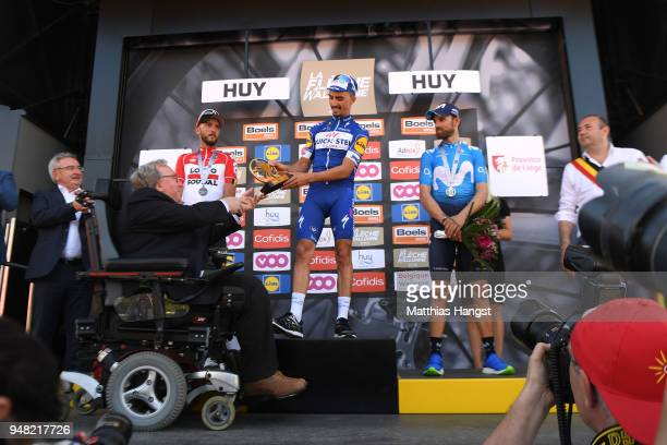 Podium / Jelle Vanendert of Belgium and Team Lotto Soudal / Julian Alaphilippe of France and Team QuickStep Floors / Alejandro Valverde Belmonte of...