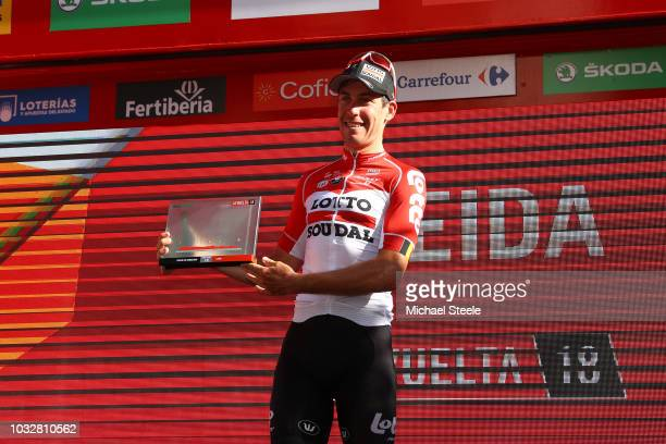 Podium / Jelle Wallays of Belgium and Team Lotto Soudal / Celebration / during the 73rd Tour of Spain 2018, Stage18 a 186,1km stage from Ejea de los...