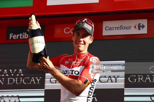 Podium / Jelle Wallays of Belgium and Team Lotto Soudal / Celebration / Champagne / during the 73rd Tour of Spain 2018, Stage18 a 186,1km stage from...