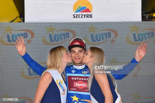 Podium / Jenthe Biermans of Belgium and Team Katusha Alpecin Blue Most Aggressive Rider Jersey / Celebration / during the 75th Tour of Poland 2018,...