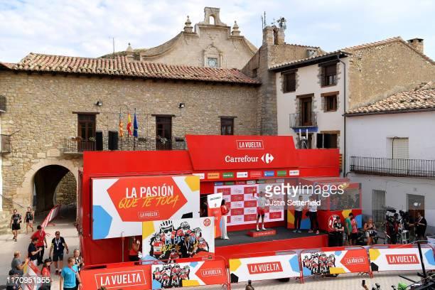 Podium / Jesus Herrada Lopez of Spain and Team Cofidis Solutions Credits / Óscar Pereiro of Spain Ex Pro-cyclist winner of the Tour of France 2006 /...